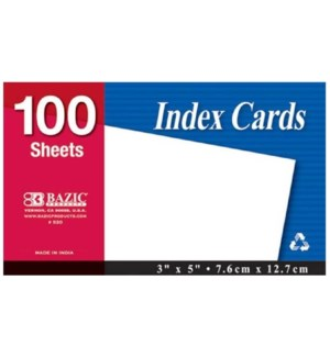 BAZIC #520 INDEX CARDS, WHITE UNRULED