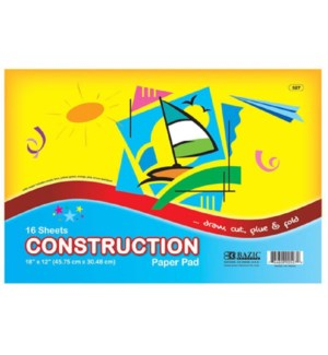 BAZIC #527 CONSTRUCTION PAPER PAD