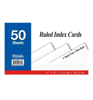 BAZIC #539 INDEX CARDS, WHITE RULED