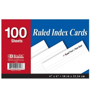 BAZIC #557 INDEX CARDS, WHITE RULED