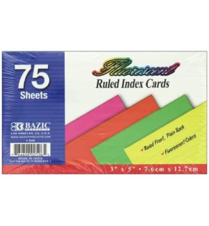 BAZIC #596 INDEX CARDS, COLORED RULED
