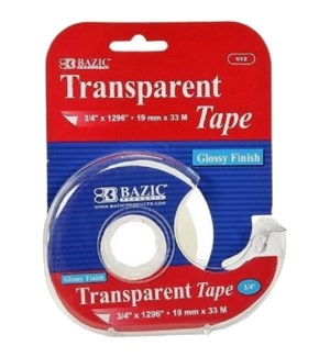 BAZIC #912 TRANSPARENT TAPE W/DISPENSER