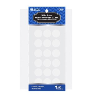 BAZIC #3808 ROUND LABEL, WHITE