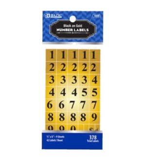 BAZIC #3809 FOIL NUMBER LABEL, GOLD