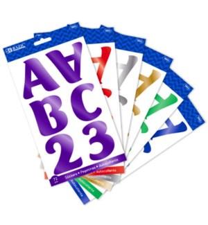 BAZIC #3822 STICKERS ALPHABET & NUMBERS METALL