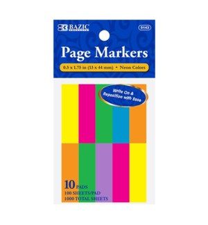 BAZIC #5143 PAGE MARKERS, NEON COLORS