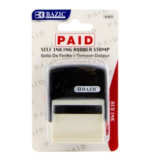 BAZIC #6303 PAID STAMP RUBBER W/RED INK