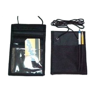 POUCH ID HOLDER #7082 BLACK W/STRING