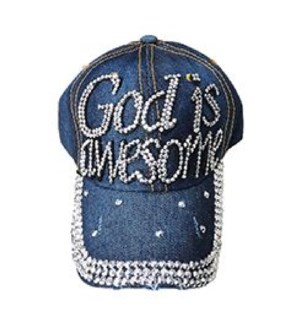 JEANS CAP #18545 GOD IS AWESOME W/STONES