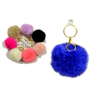 FURRY BALL #65466 KEYCHAIN ASSORTED COLO