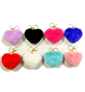 FUR BALL KEYCHAIN #65492 HEART SHAPE