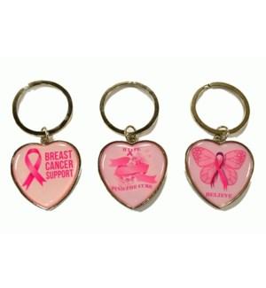 B.C.A. #67174 KEYCHAIN PINK HOPE HEART SHAPE