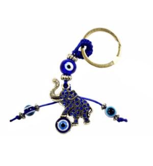 KEYCHAIN #68115 ELEPHANT W/BLUE BEADS