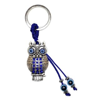 KEYCHAIN #68118 OWL W/BLUE BEADS