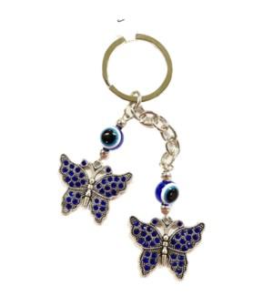 KEYCHAIN #68312 DOUBLE BUTTERFLY BLUE EYE