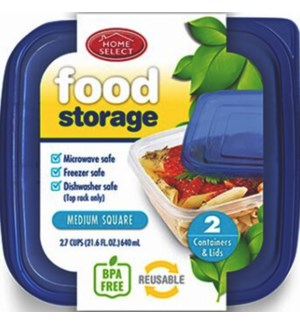 HOME SELECT #11343 FOOD STORAGE CONTAINERS SQUARE