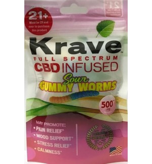 KRAVE SOUR GUMMY WORMS CBD INFUSED