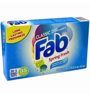 FAB FABRIC SOFTNER SHEETS #2126 CLASSIC SPRING