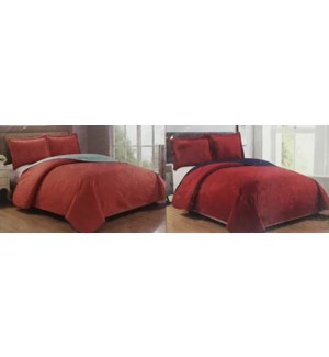 LEXINGTON #BSL04177 BED COVER SET SOLID REVERSIBLE