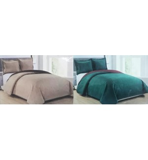LEXINGTON #BSL04137 BED COVER SET SOLID REVERSIBLE