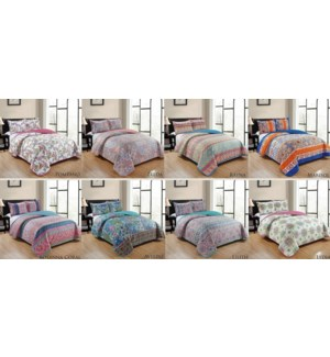 SUPREME #BSS09904Q BED COVER SET PRINTED REVERS