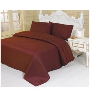DT BED SHEET SET BURGUNDY/KING