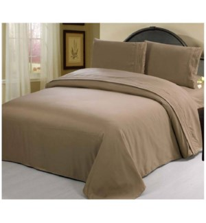 DT BED SHEET SET TAUPE/QUEEN