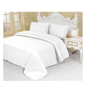DT BED SHEET SET WHITE/QUEEN