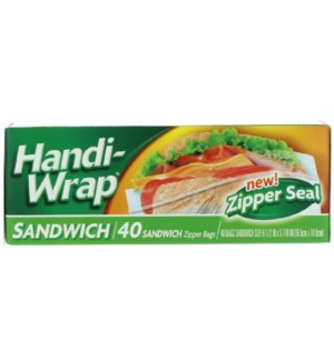 HANDI WRAP SANDWICH BAGS ZIPPER SEAL #39500