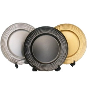 CHARGER PLATE #NHS3361 SILVER DOT RIM