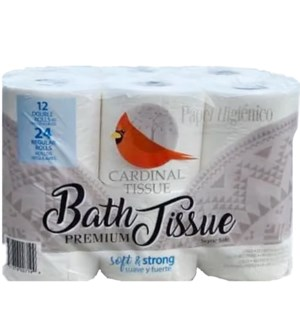 CARDINAL BATH TISSUE 12 DOUBLE ROLL
