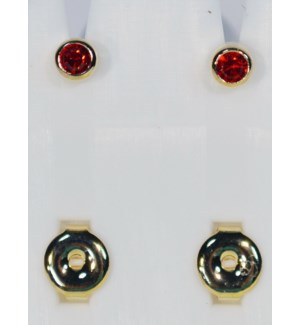 BIRTHSTONE STUDS #P07 RUBBY RED/GOLD