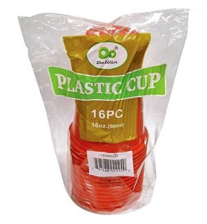 PLASTIC CUP 16OZ #07592  RED (11205)