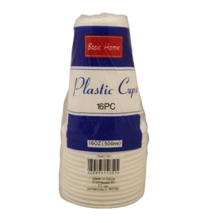 PLASTIC CUP 16OZ #11207 WHITE CUPS