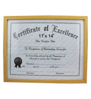 CERTIFICATE FRAME #20059 L.BLUE WOOD FINISH