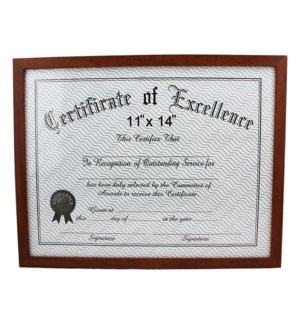 CERTIFICATE FRAME #20061 BROWN WOOD FINISH