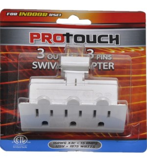 3-OUTLET ADAPTER #CH87338 3-PINS SWIVEL