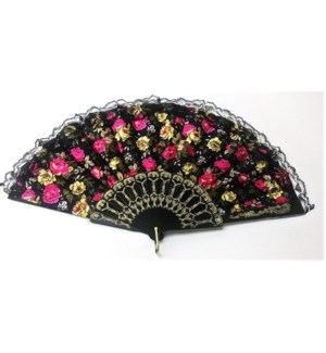 HAND FAN #DFY055 LACE FLOWERS, ASST