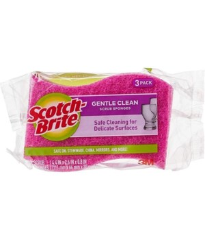 SCOTCH-BRITE DELICATE CARE SCRUB SPONGE 8/3PK(6652)
