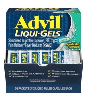 ADVIL LIQUID GELS PAIN RELIVER DISPENSER 50/2PK
