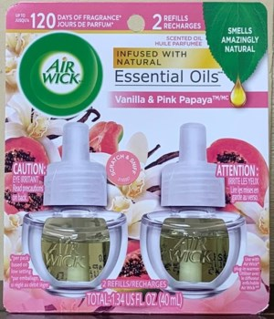 AIRWICK OIL REFILL PURE VANILLA & PINK PAPAYA 6(2X67OZ)00624