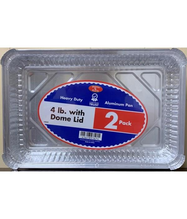 4LBS ALUMINUM PAN W/CLEAR LID 36/2CT