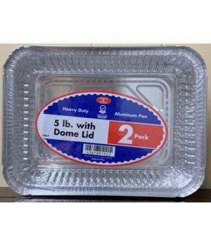 5LBS ALUMINUM PAN W/PLASTIC LID 48/2CT
