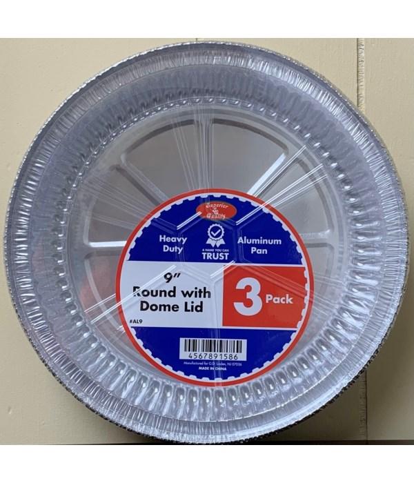 """9"""" ALUMINUM PAN W/PLASTIC LID 48/3CT"""