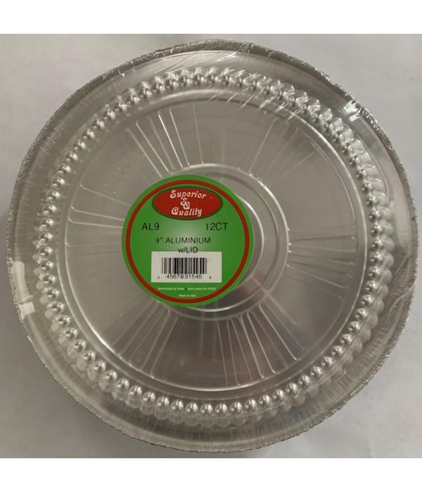 """9"""" ALUMINUM PAN W/CLEAR LID 24/12CT(AL9P)"""
