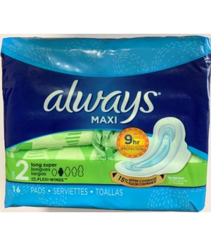 ALWAYS MAXI SUPER LONG W/WINGS 12/16CT