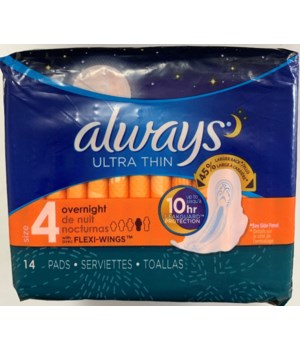 ALWAYS ULTRA THIN OVERNIGHT W/WINGS 12/14CT
