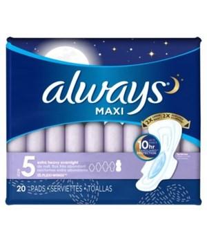 ALWAYS #5 MAXI OVERNIGHT W/WINGS 6/20CT