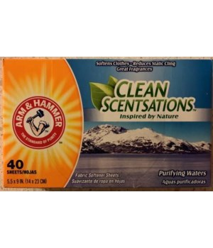 ARM&HAMMER FABRIC SOFTNER SHEETS PURIFYING WAT 12/40CT(14030)