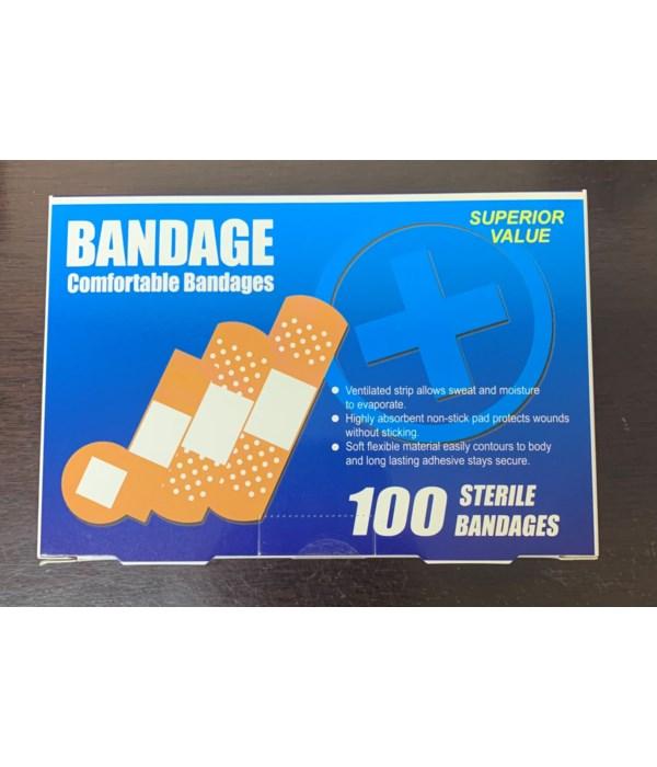 BANDAGE ASSORTED SIZES 12/100CT